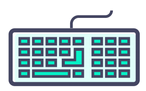 A drawing of a dark purpley grey keyboard with green buttons on a blank background.
