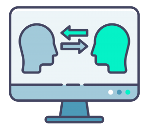A drawing of a computer screen with the side profiles of 2 heads, one blue and one green, facing each other on it. Each head has an arrow pointing to the other head. The image symbolises communication.