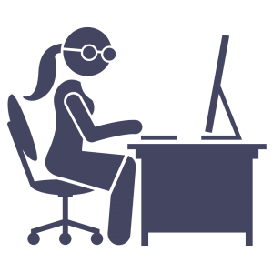 A dark purpley grey cartoon of a copywriter wearing glasses. She's sitting at a desk with a computer.