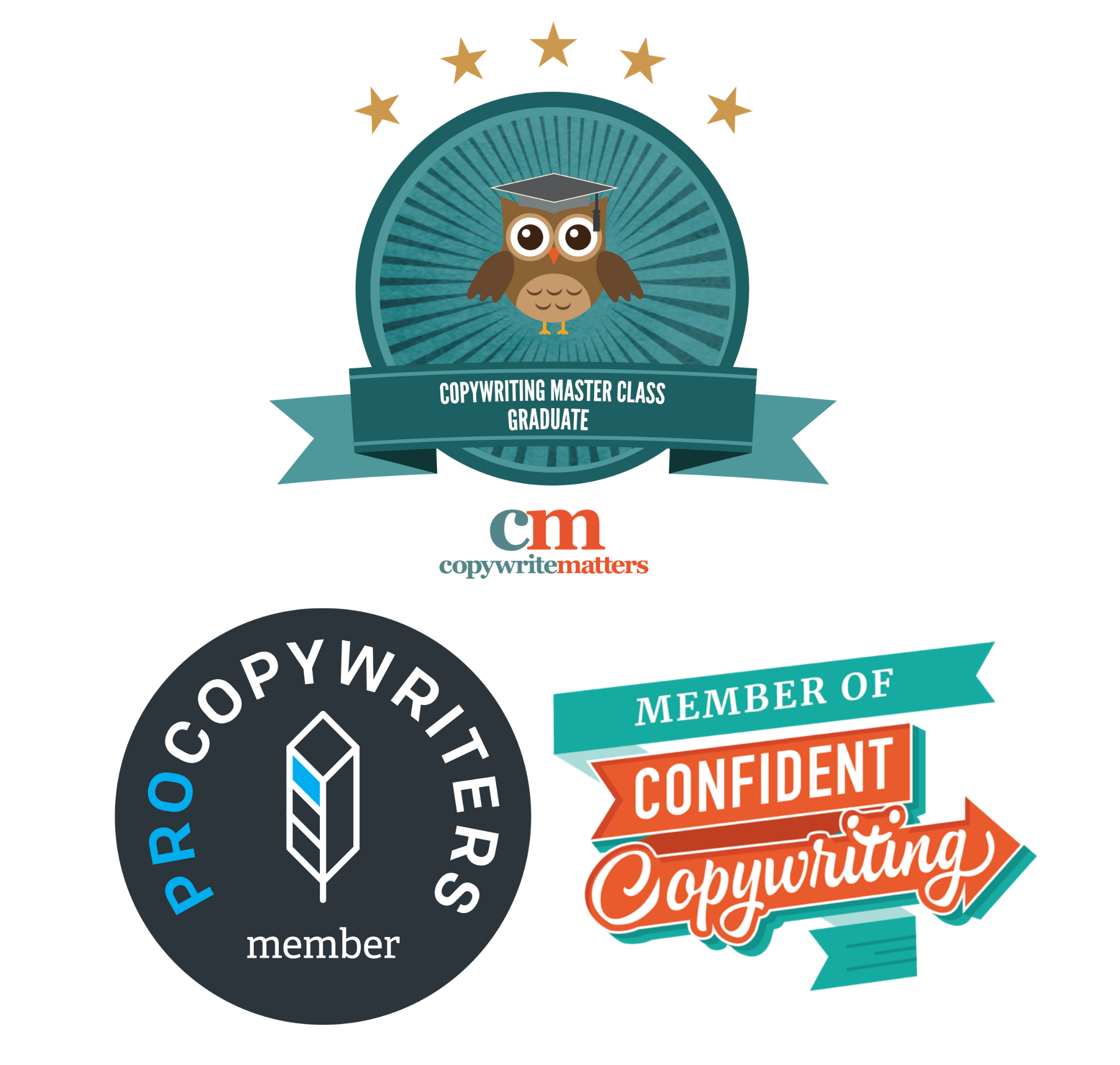 """Image with three logos: Pro Copywriters member badge. A dark grey circle with white and blue text that reads """"Pro Copywriters Member"""" and a white feather. Copywriting Masterclass Graduate Badge. A circular badge with a cartoon of an owl with 5 gold stars above it. Below the owl are the words """"Copywriting Masterclass Graduate"""". Below this is the logo for Copywrite Matters, the business that runs the course. Confident Copywriting Member badge. The words """"Member of Confident Copywriting"""" on a colourful background."""